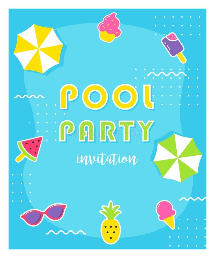 Affisch för sommarpölparti eller inbjudankort vektor illustrationer