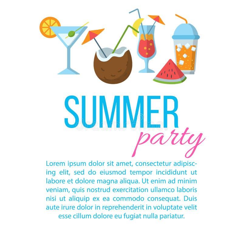 Affisch för sommarpartilägenhet royaltyfri illustrationer
