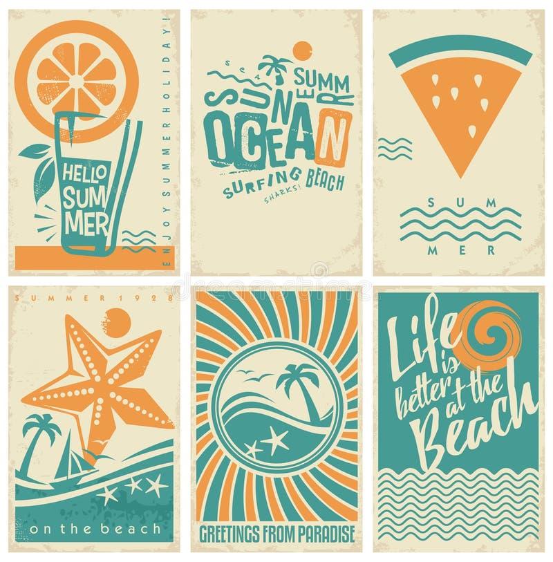 Affisch för sommarsemester, reklamblad eller broschyrsamling vektor illustrationer