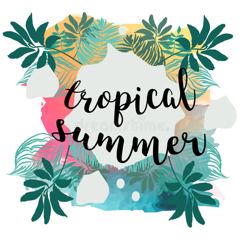 Affisch för sommartid Text med ramen på tropisk sidabakgrund Moderiktig vektorillustration stock illustrationer