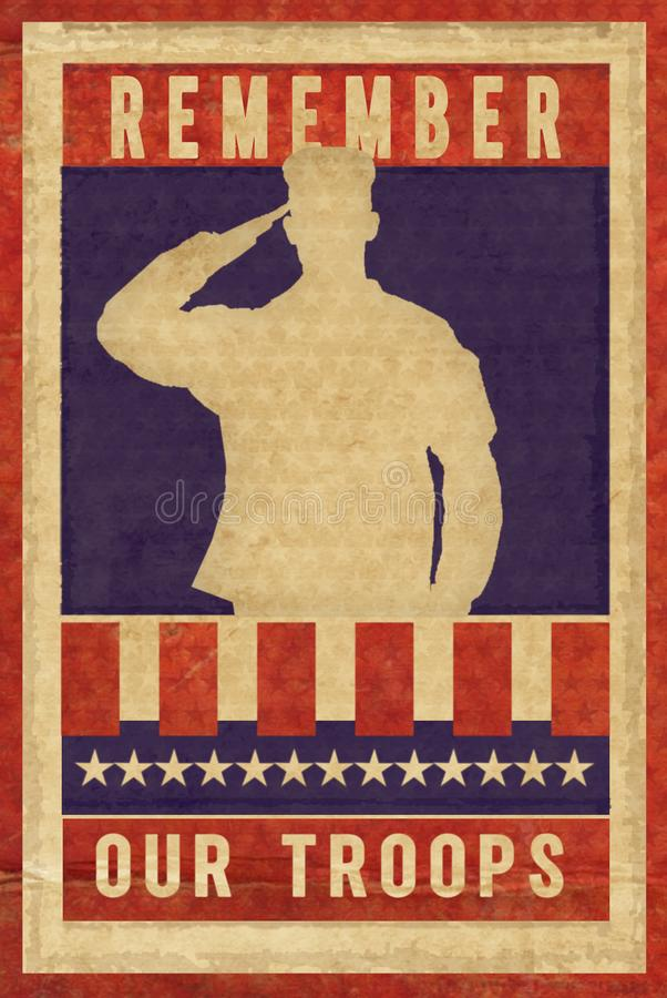 Affisch för stämpel för tappning för Memorial Day veterandag royaltyfri illustrationer