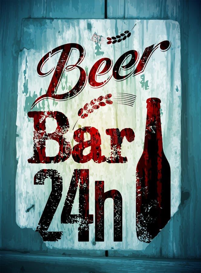 Affisch för stång för öl för tappninggrungestil Retro typografisk vektorillustration på wood bakgrund 10 eps vektor illustrationer