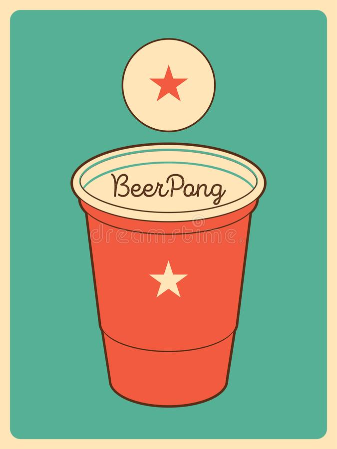 Affisch för stil för ölPong typografisk tappning retro vektor för illustration vektor illustrationer