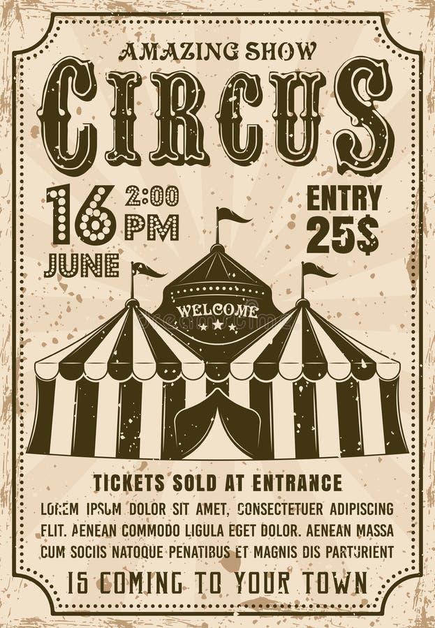 Affisch för stil för inbjudan för vektor för cirkustält retro royaltyfri illustrationer