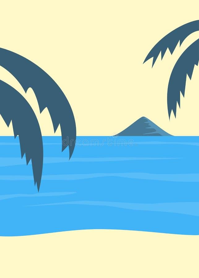 Affisch för strand för tappningstilsommar tropisk royaltyfri illustrationer