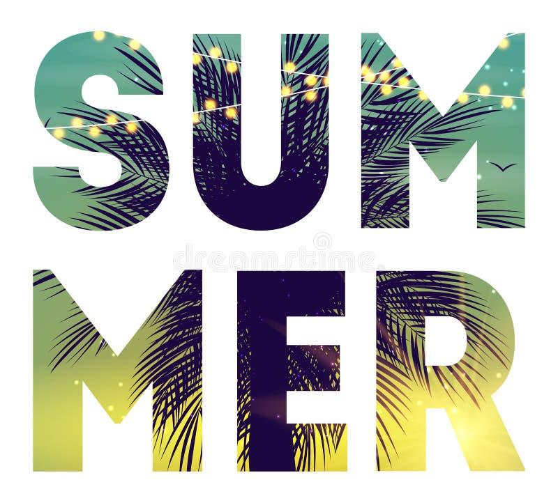Affisch för strand för sommarnatt Tropisk naturlig bakgrund med g?mma i handflatan Dekor för tyg, textil, klädervektorillustratio stock illustrationer