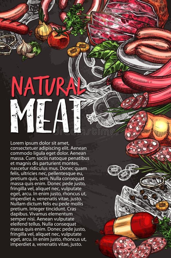 Affisch för svart tavla för köttkorv, gallermenydesign stock illustrationer