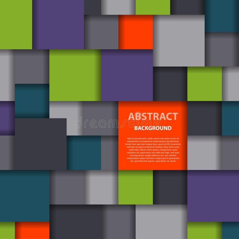 Affisch för tapet för geometri för abstrakt fyrkantig för bakgrundsvektorillustration räkning för textur idérik grafisk geometris royaltyfri illustrationer