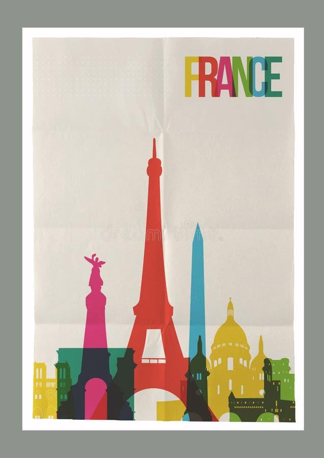 Affisch för tappning för horisont för loppFrankrike gränsmärken stock illustrationer