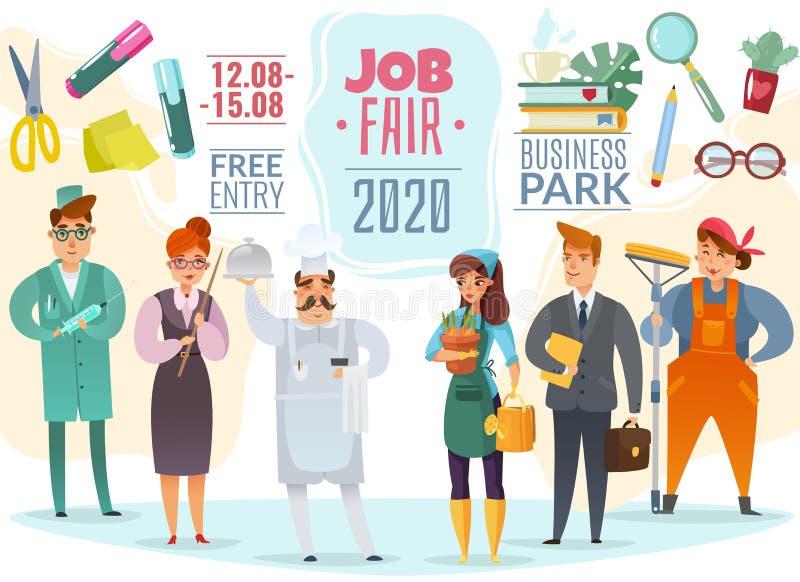 Affisch för tecken för jobbmässa stock illustrationer