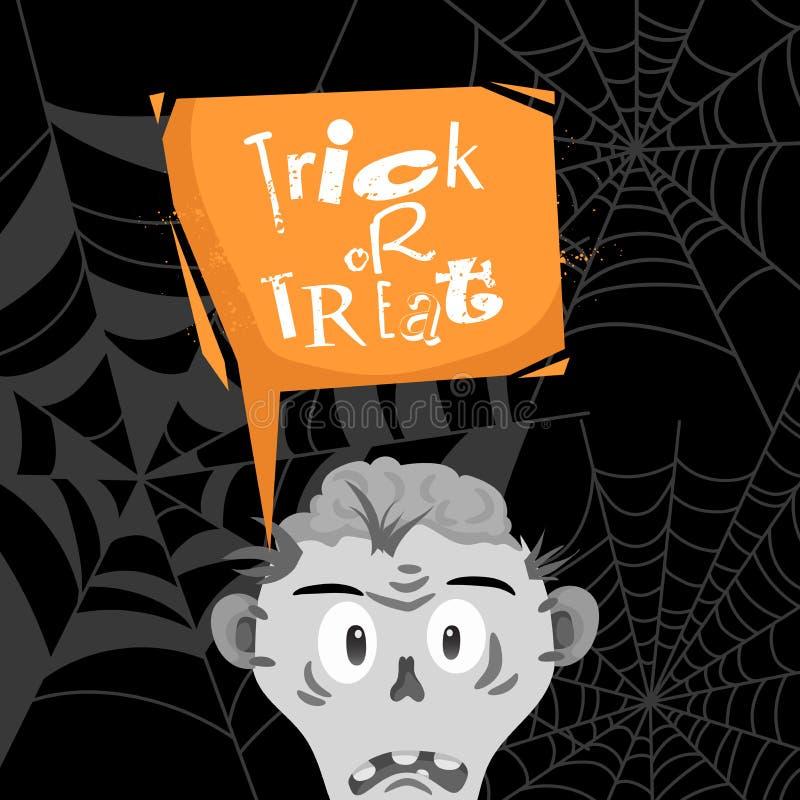 Affisch för tecknad film för trick- eller festhalloween parti Orange modern anförandebubbla med text och levande dödhuvud och hjä vektor illustrationer
