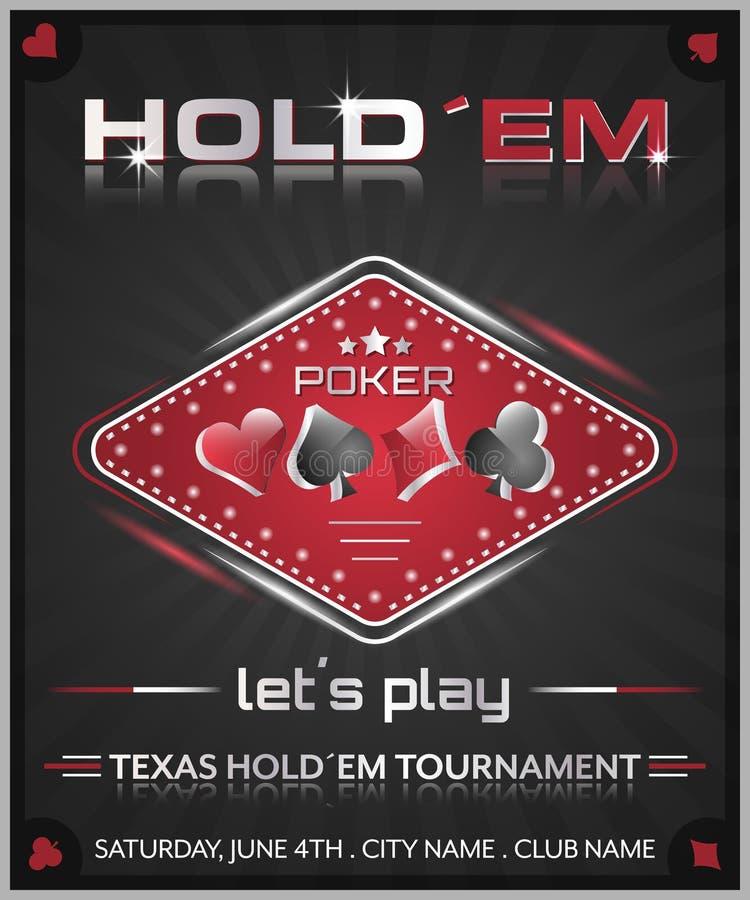 Affisch för turnering för Texas holdempoker vektor illustrationer