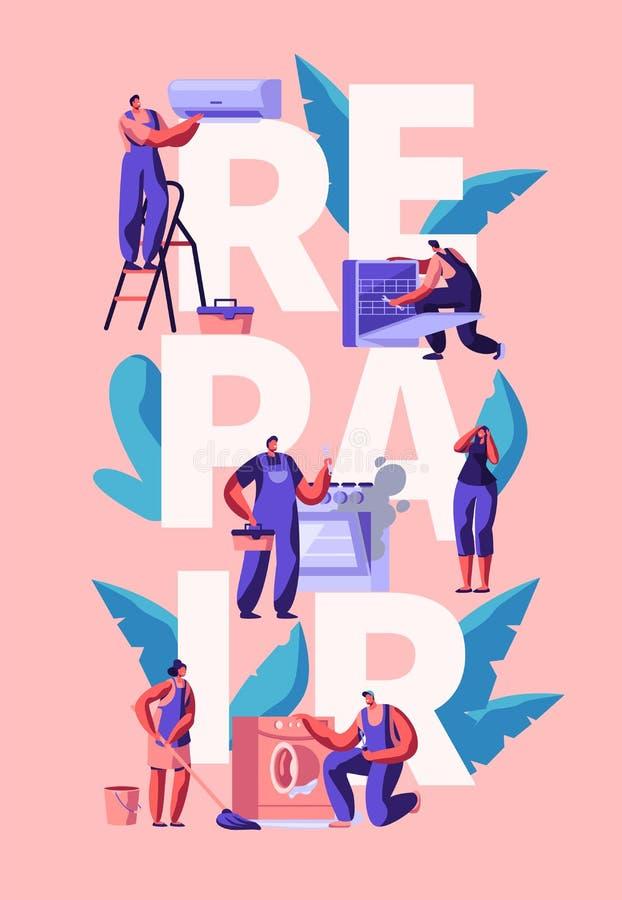 Affisch för utrustning för arbetarteckenreparation hem- Man med hjälpmedelknipaluft som betingar, diskare, ugn, tvagningmaskin stock illustrationer