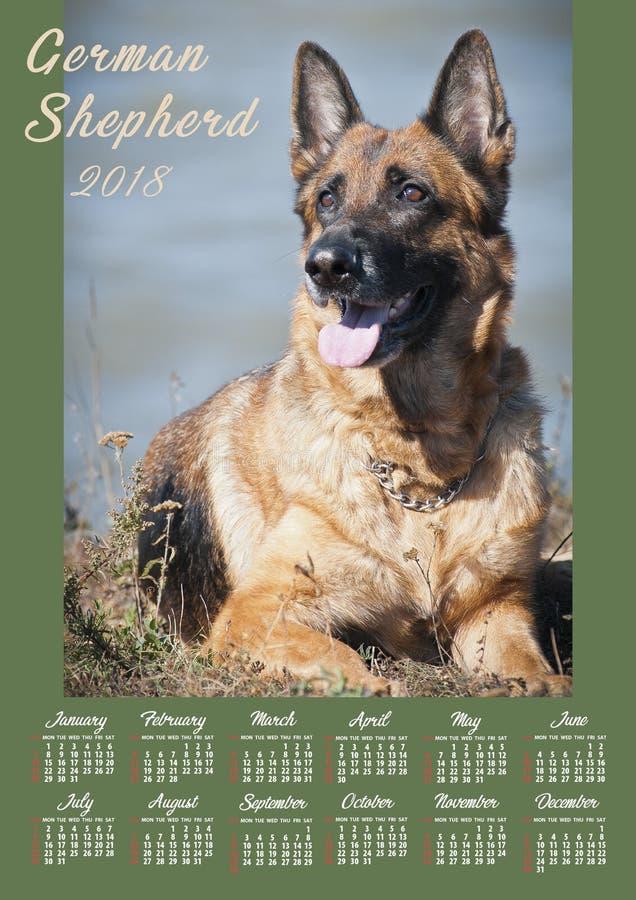 Affisch för väggkalender för 2018 år med fotohunden Veckan startar söndag arkivfoton