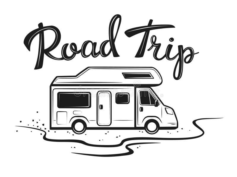 Affisch för vägtur med camparen på vägen till ferier vektor illustrationer