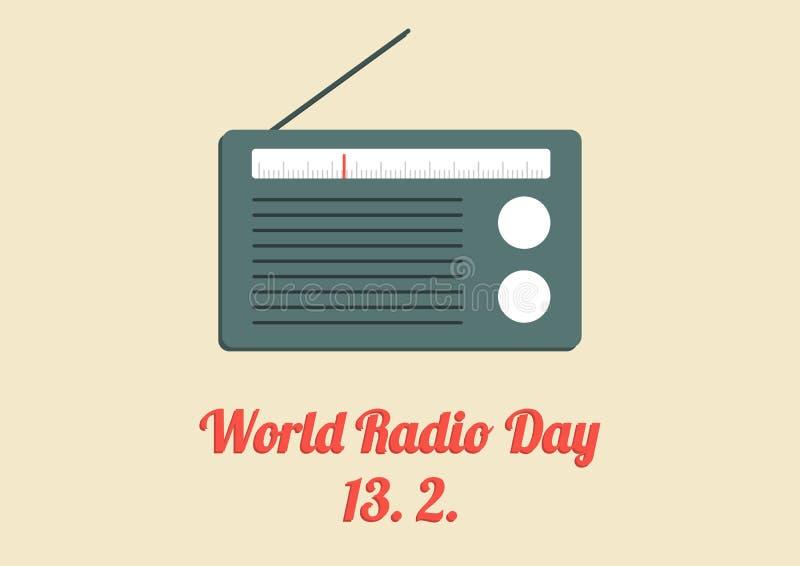 Affisch för världsradiodag stock illustrationer