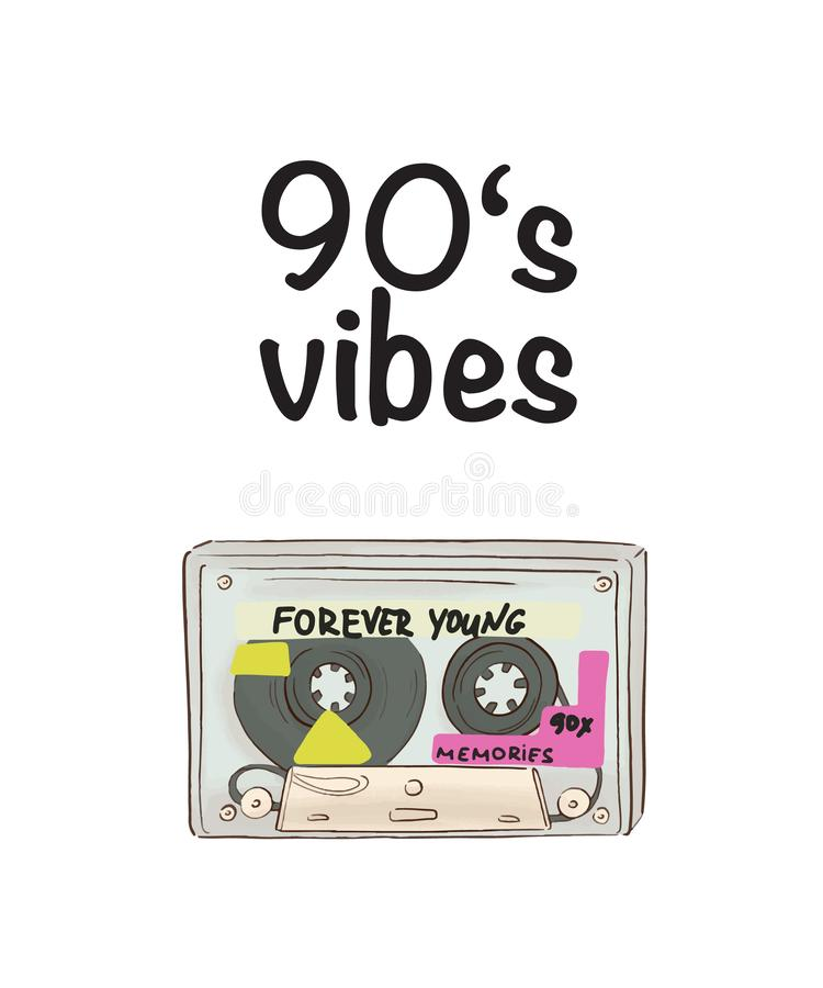 Affisch för Vcetor musikband registreringsapparat för 90-talstilkassett som drar konst Gammalt stereo- symboltryck stock illustrationer