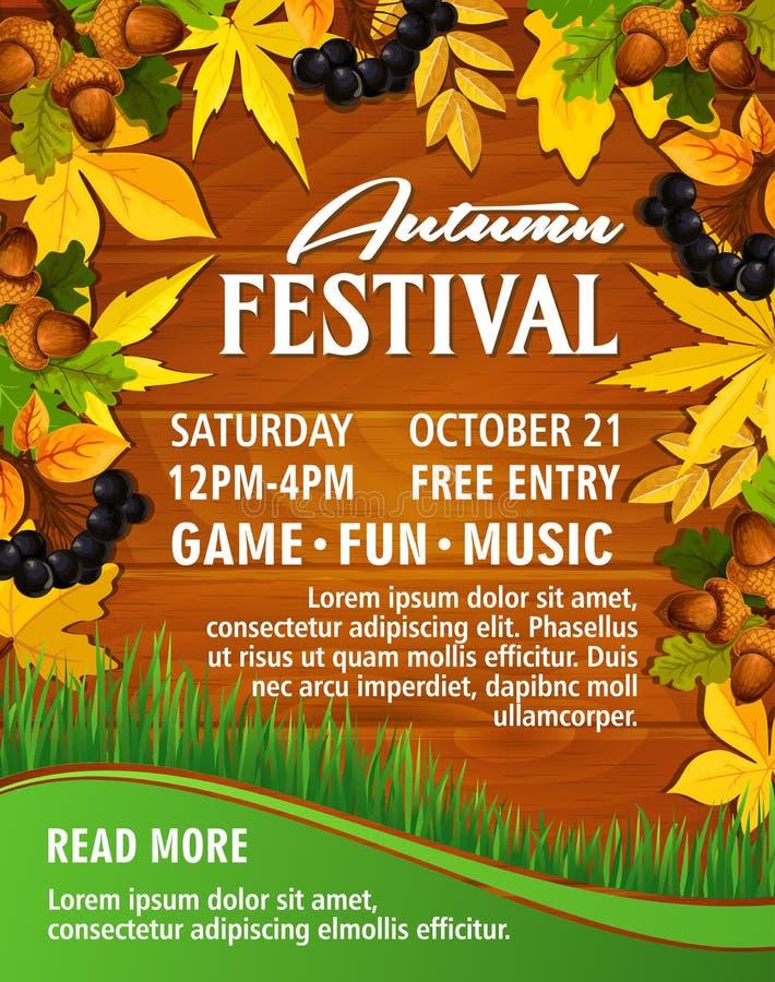 Affisch för vektor för festival för parti för höstpicknickmusik royaltyfri illustrationer