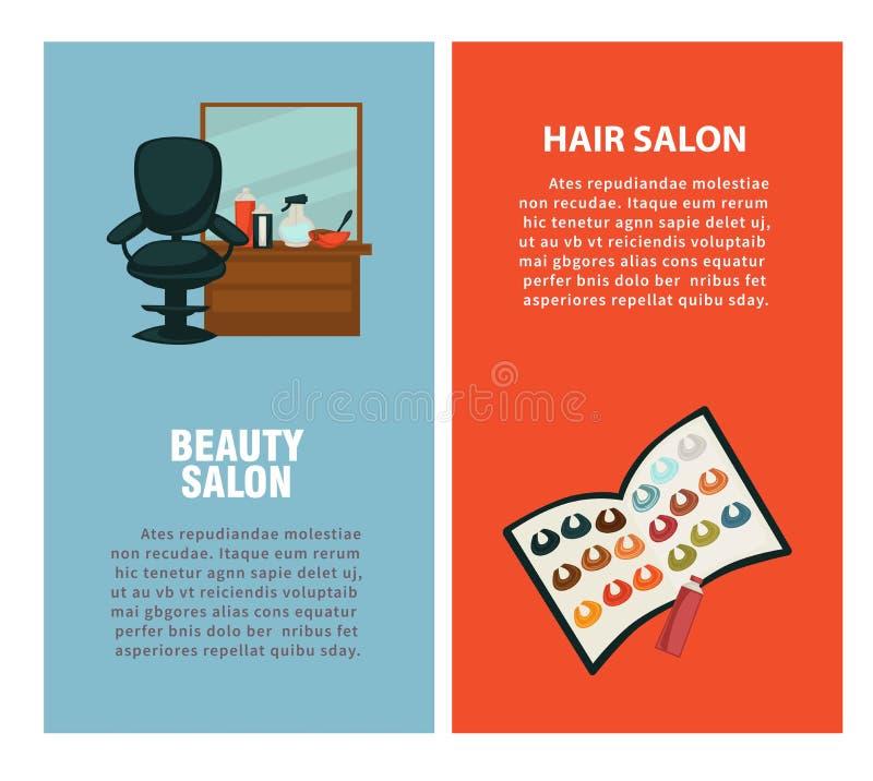 Affisch för vektor för salong för frisörskönhethår för färgfärgläggning och att utforma för frisyr stock illustrationer