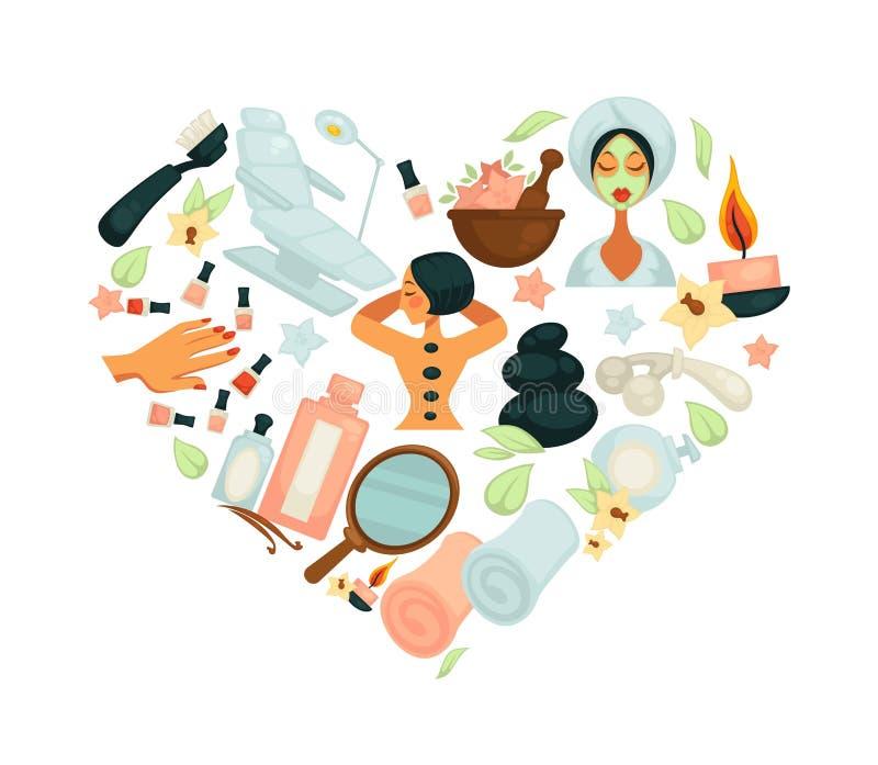 Affisch för vektor för salong för för skönhetSPA massage eller wellness stock illustrationer