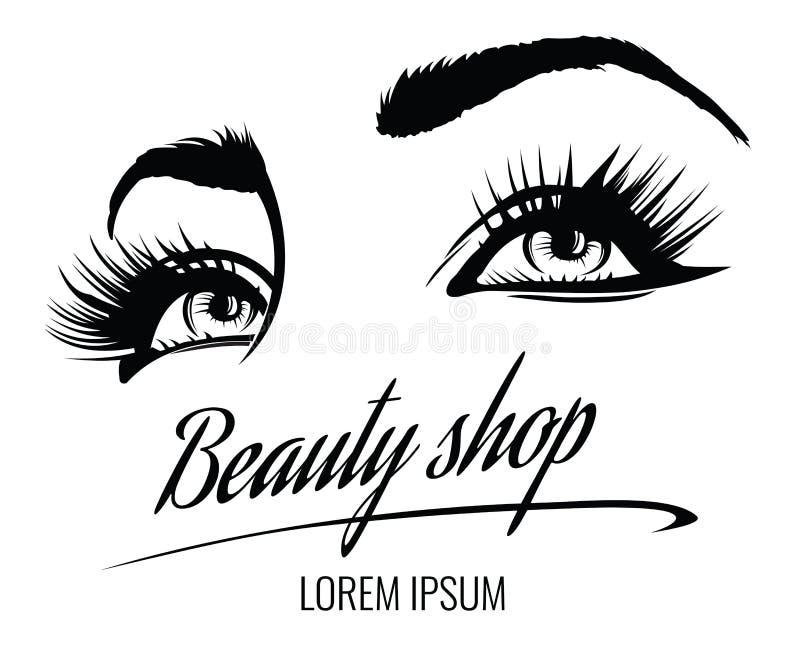 Affisch för vektor för skönhetsalong med ögon, ögonfrans och ögonbrynet av den härliga kvinnan vektor illustrationer