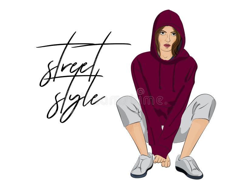 Affisch för vektorgatastil Sportigt kvinnadiagram dräkt, modeillustration Flicka i skördöverkanthoodie och gymnastikskor Hand vektor illustrationer
