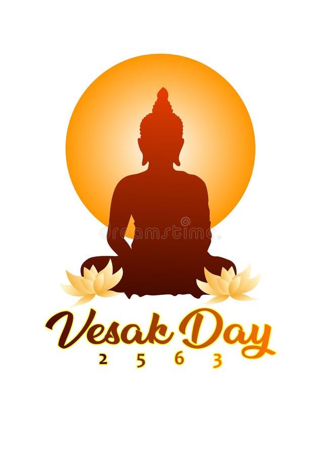 Affisch för Vesak daghälsning med den buddistiska kontur- och lotusblommablomman royaltyfri illustrationer