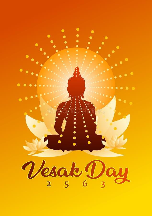 Affisch för Vesak daghälsning med den buddistiska kontur- och lotusblommablomman och orange graderingbakgrund royaltyfri illustrationer