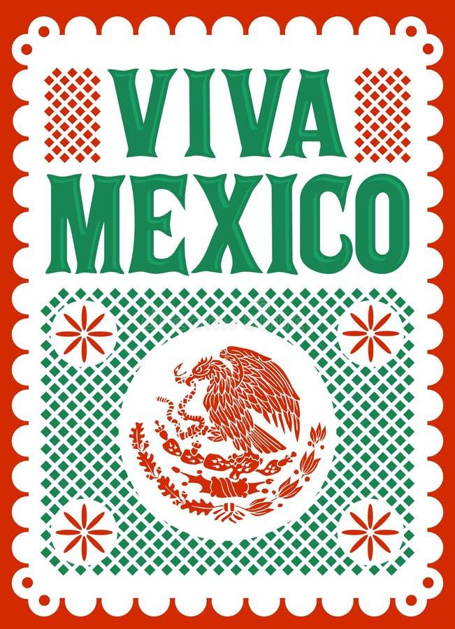Affisch för Viva Mexico mexikansk ferievektor, gatagarneringillustration stock illustrationer
