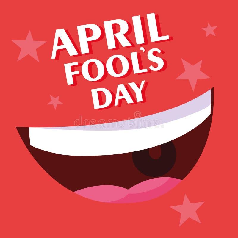 Affisch f?r leende f?r dag f?r April dumbommar royaltyfri illustrationer