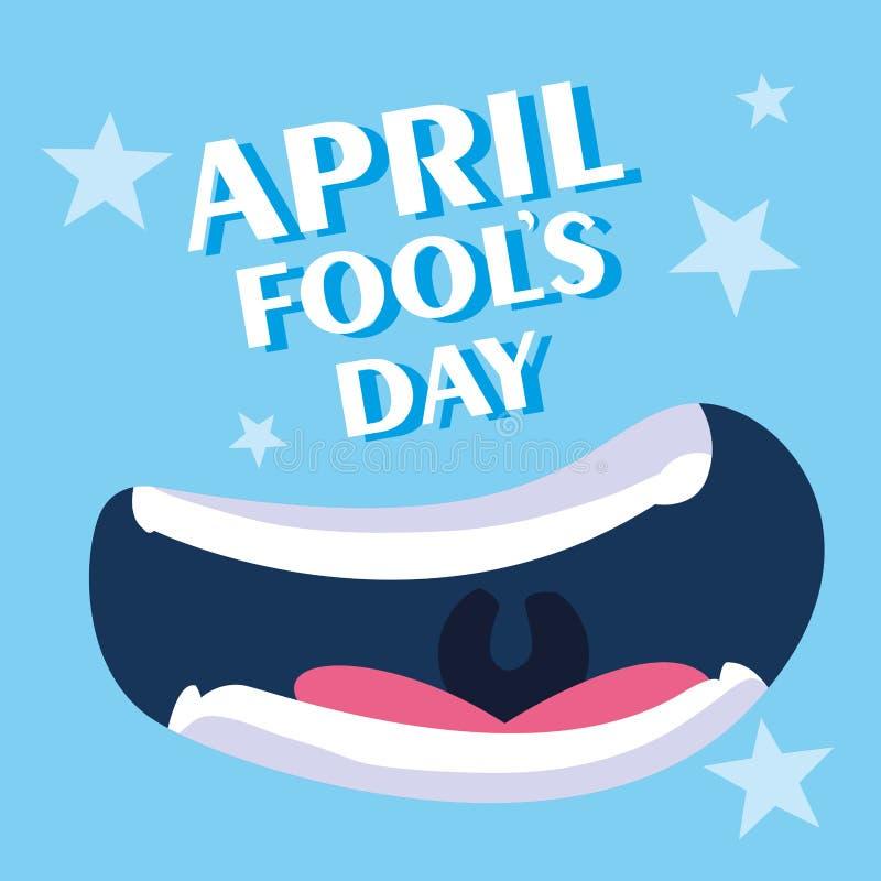 Affisch f?r leende f?r dag f?r April dumbommar vektor illustrationer