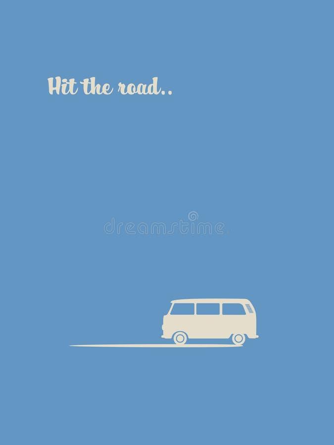 Affisch f?r tappning f?r sommarferie retro med symbol f?r v?gtur Liten minivanbil Aff?rsf?retagsemester, resa och frihet vektor illustrationer