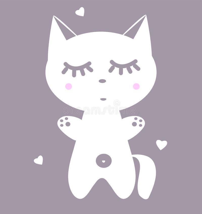 Affisch i barnkammaren Kattunge med stängda ögon Gulligt djur för vektor Vit katt med rosa kinder för tryck på kläder fantastiskt stock illustrationer