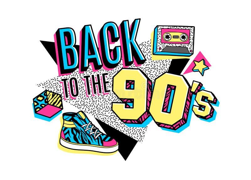 Affisch i stil för 80s-90s memphis vektor illustrationer