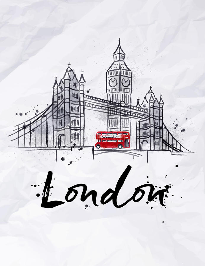 Affisch London vektor illustrationer