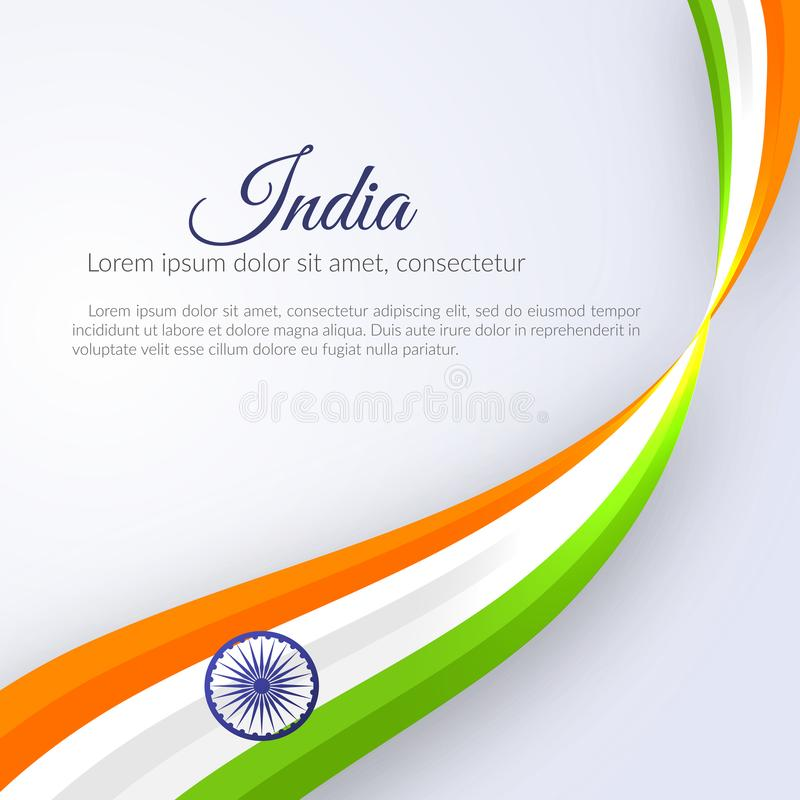 Affisch med abstrakta krökta linjer krabbt band av den färgmedborgareIndien flaggan och namnet av designen för landsIndien bestån vektor illustrationer