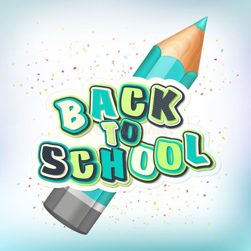 Affisch med att märka tillbaka till skolan Realistisk blyertspenna, färgrika bokstäver vektor illustrationer