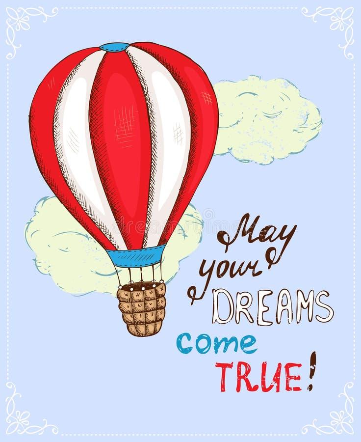 Affisch med ballongen för varm luft royaltyfri illustrationer