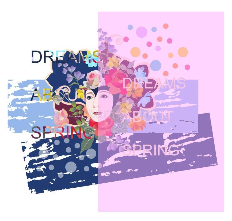 Affisch med blommor, abstrakta fläckar och den härliga modekvinnan i stucken hatt Smsa 'drömmar om våren ', vektor illustrationer