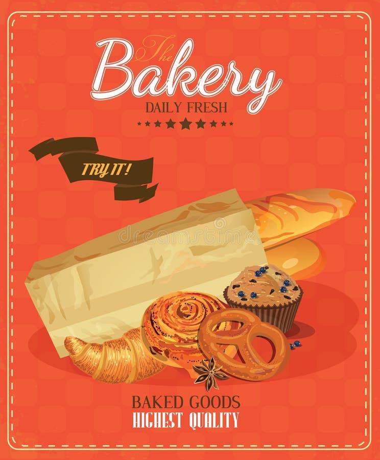 Affisch med bröd, taktpinnen, den franska bagetten, bullen, taktpinnen och kringlan tappning för stil för illustrationlilja röd vektor illustrationer