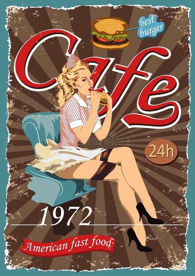 Affisch med en utvikningsbildservitris Snabbmatamerikankaféer arkivfoto