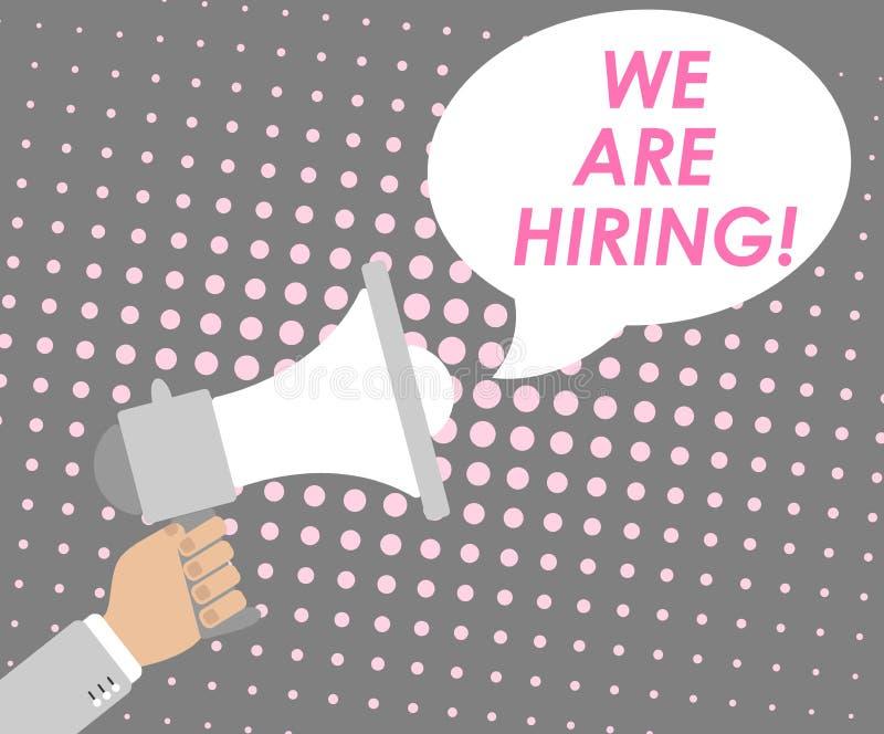 Affisch med ett meddelande för jobbsökande som visar en hand med en högtalare och ett meddelande med en stolpe för popkonst på en stock illustrationer