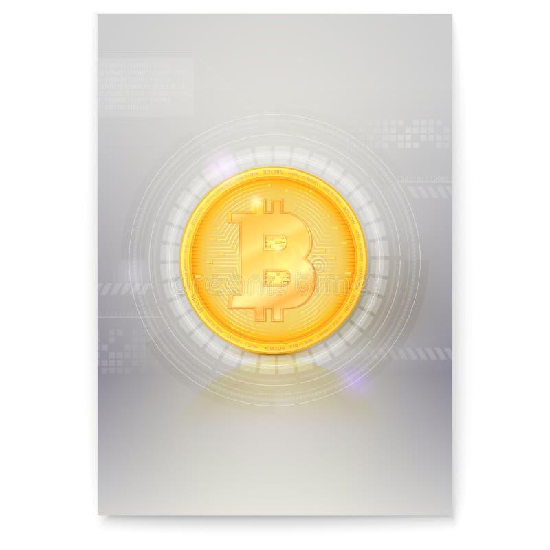 Affisch med faktisk valuta Bitcoin Symbol av digitala pengar, guld- digitalt mynt Design av banret med crypto valuta vektor illustrationer