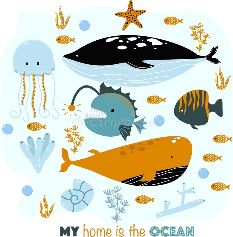 Affisch med havsdjur mitt hem - vektorillustration, eps stock illustrationer