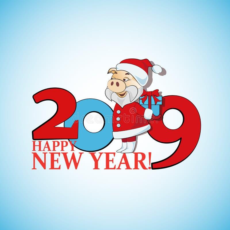 Affisch med inskriften 2019 och rolig jultomten Spädgris som kläs som Santa Claus royaltyfri illustrationer
