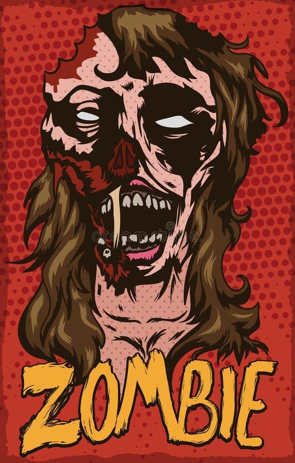 Affisch med levande dödkvinnlign i popet Art Design, vektorillustration royaltyfri illustrationer