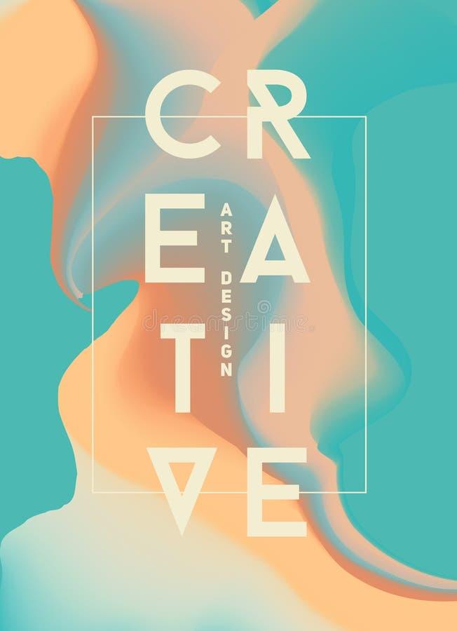 Affisch med ljust vätskefärgpulver Moderna stiltrender Bakgrund arkivfoto