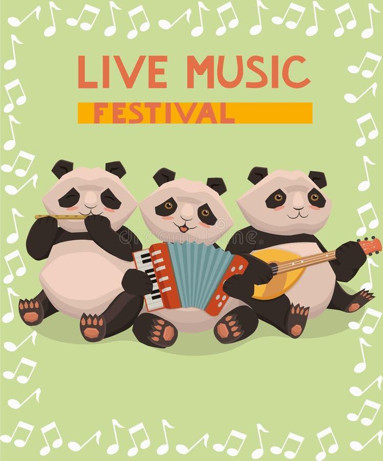 Affisch med pandor till musikfestivalen Tre pandor spelar musikinstrument Vektorbanermall vektor illustrationer