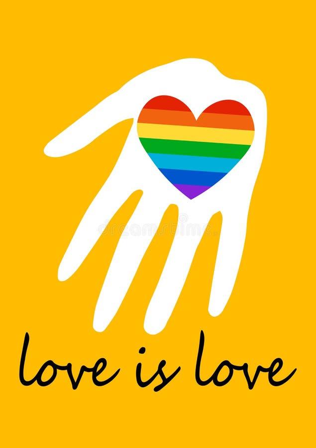 Affisch med regnbågehjärta i hand LGBT-r?ttbegrepp F?r?lskelse ?r f?r?lskelse Stolthetspektrumflagga, homosexualitet, j?mst?lldhe royaltyfri illustrationer