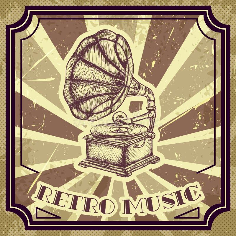 Affisch med tappninggrammofonen Retro hand dragen retro musik för vektorillustrationetikett royaltyfri illustrationer